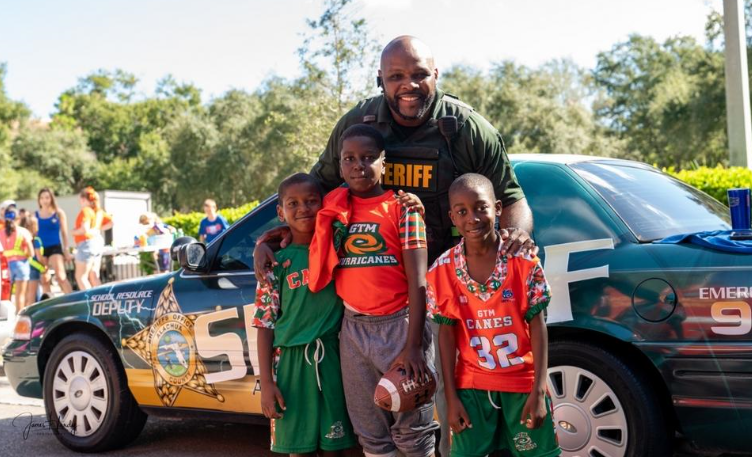 "School Resource Deputy James Hardy at an event with ""his"" kids - Photo Courtesy of Deputy Hardy"